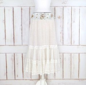 Dresses & Skirts - Vintage Cream/Ivory Crochet Beaded Maxi Skirt